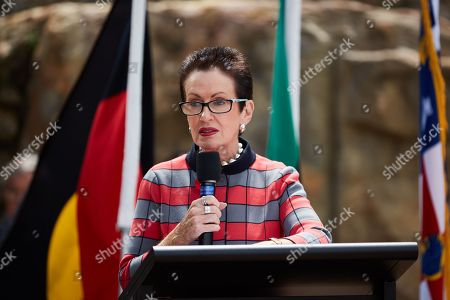 Sydney Lord Mayor Clover Moore speaks during a ceremony marking the return of the first World War I (WWI) digger soldier statue created in Australia, at the Rozelle tramsheds site in Sydney, New South Wales, Australia, 08 November 2018, just few days ahead of the Remembrance Day commemorations in the country. The statue, commissioned in 1916 by Sydney tram workers at Rozelle tramsheds to honor their colleagues killed on the Western Front, was cast in cement by Irish-Australian sculptor Edwin McGowan.