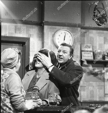 Stock Image of Jean Alexander (as Hilda Ogden), Pat Phoenix (as Elsie Tanner) and Barry Keegan (as Jim Mount)