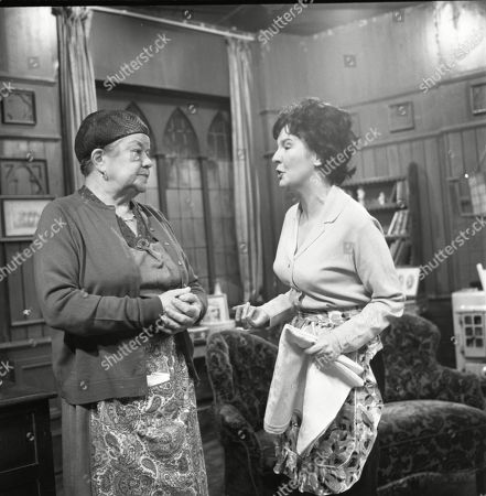 Violet Carson (as Ena Sharples) and Ruth Holden (as Vera Lomax)