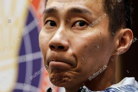 Malaysian badminton player Lee Chong Wei reacts during a press conference in Kuala Lumpur, Malaysia, 08 November 2018. Chong Wei spoke to the media for the first time after he was diagnosed with nose cancer in July.