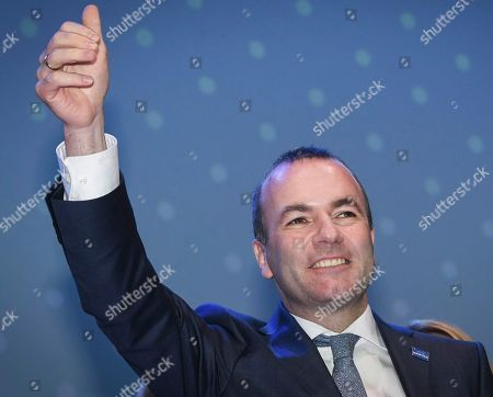 German MEP Manfred Weber gestures as he attends the 23rd European People's Party (EPP) Congress in Helsinki, Finland, 08 November 2018. European conservative centre-right parties gathered in Helsinki on 07 and 08 November, to elect the lead candidate for the next European elections that will take place from 23 to 26 May 2019. Top candidates are German MEP Manfred Weber and Finland's former Prime Minister Alexander Stubb.