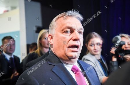 Prime Minister of Hungary Viktor Orban speaks to journalists during the 23rd European People's Party (EPP) Congress in Helsinki, Finland, 08 November 2018. European conservative centre-right parties gathered in Helsinki on 07 and 08 November, to elect the lead candidate for the next European elections that will take place from 23 to 26 May 2019. Top candidates are German MEP Manfred Weber and Finland's former Prime Minister Alexander Stubb.