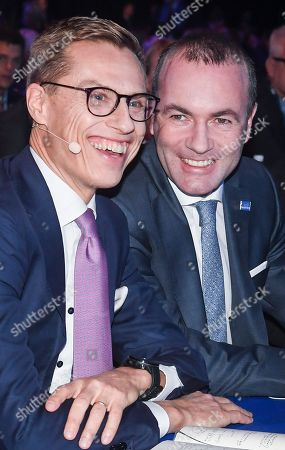 German MEP Manfred Weber (R) and Finland's former Prime Minister Alexander Stubb (L) attend the 23rd European People's Party (EPP) Congress in Helsinki, Finland, 08 November 2018. European conservative centre-right parties gathered in Helsinki on 07 and 08 November, to elect the lead candidate for the next European elections that will take place from 23 to 26 May 2019. Top candidates are German MEP Manfred Weber and Finland's former Prime Minister Alexander Stubb.