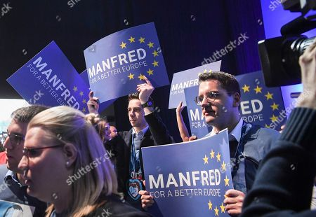 Supporters of German MEP Manfred Weber hold up signs reading 'Manfred for a better future' during the 23rd European People's Party (EPP) Congress in Helsinki, Finland, 08 November 2018. European conservative centre-right parties gathered in Helsinki on 07 and 08 November, to elect the lead candidate for the next European elections that will take place from 23 to 26 May 2019. Top candidates are German MEP Manfred Weber and Finland's former Prime Minister Alexander Stubb.