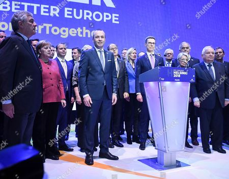 German MEP Manfred Weber (C) and Finland's former Prime Minister Alexander Stubb (C-R) join hands as they attend the 23rd European People's Party (EPP) Congress in Helsinki, Finland, 08 November 2018. European conservative centre-right parties gathered in Helsinki on 07 and 08 November, to elect the lead candidate for the next European elections that will take place from 23 to 26 May 2019. Top candidates are German MEP Manfred Weber and Finland's former Prime Minister Alexander Stubb.