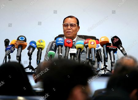 """Minister Louis Farrakhan, the leader of the Nation of Islam, speaks at a press conference in Tehran, Iran, . Farrakhan warned President Donald Trump not to pull """"the trigger of war in the Middle East, at the insistence of Israel."""" The 85-year-old Farrakhan, long known for provocative comments widely considered anti-Semitic, criticized the economic sanctions leveled by Trump against Iran after his pullout from the nuclear deal"""