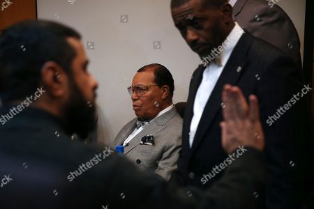 """Minister Louis Farrakhan, the leader of the Nation of Islam, sits prior to press conference in Tehran, Iran, . Farrakhan warned President Donald Trump not to pull """"the trigger of war in the Middle East, at the insistence of Israel."""" The 85-year-old Farrakhan, long known for provocative comments widely considered anti-Semitic, criticized the economic sanctions leveled by Trump against Iran after his pullout from the nuclear deal"""