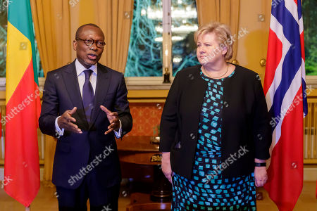 Norwegian Prime Minister Erna Solberg (R) with president of Benin Patrice Talon during their meeting in Oslo, Norway, 07 November 2018.