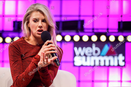 Model and actress Charlotte McKinney during a conversation about 'How to win friends and influence people' with Ultimate Fighting Championship (UFC) fighter, Paige VanZant (not in the picture), and Business Insider's editor-in-chief, Jim Edwards(not in the picture), on the fourth and last day of the 2018 Web Summit in Lisbon, 08 November 2018. The 2018 Web Summit, considered the largest innovation event of startups and technological entrepreneurship in the world, takes place from 05 to 08 November at the Altice Arena and FIL pavilion, in Parque das Nacoes, Lisbon.
