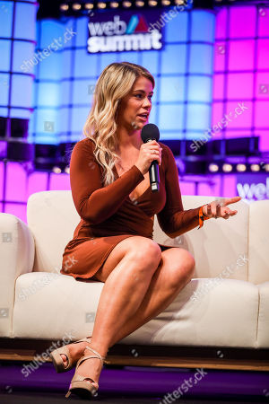 Ultimate Fighting Championship (UFC) fighter, Paige VanZant speaks during a conversation about 'How to win friends and influence people' with model and actress Charlotte McKinney (not in the picture) and Business Insider's editor-in-chief, Jim Edwards (not in the picture), on the fourth and last day of the 2018 Web Summit in Lisbon, Portugal, 08 November 2018. The 2018 Web Summit, considered the largest innovation event of startups and technological entrepreneurship in the world, takes place from 05 to 08 November at the Altice Arena and FIL pavilion, in Parque das Nacoes, Lisbon.
