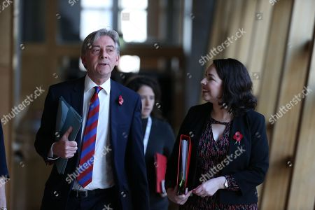 Scottish Parliament First Minister's Questions - Richard Leonard, Leader of the Scottish Labour Party, and Monica Lennon make their way to the Debating Chamber.