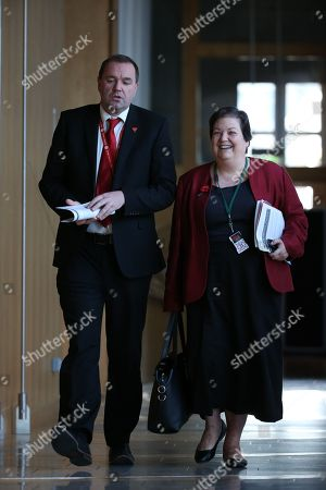 Scottish Parliament First Minister's Questions - Neil Findlay and Jackie Baillie make their way to the Debating Chamber.
