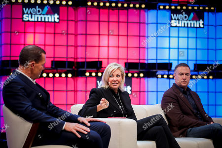 The Tommy Hilfiger Global and PVH Europe CEO, Daniel Grieder (L), Swarovski's member of Executive Board, Nadia Swarovski (C) and the CBS corportaion Chief Digital Officer, Jim Lanzone, during a conversation with the theme ' Modernising traditional brands', on the fourth and last day of the 2018 Web Summit in Lisbon, Portugal, 08 November 2018. The 2018 Web Summit, considered the largest innovation event of startups and technological entrepreneurship in the world, takes place from 05 to 08 November at the Altice Arena and FIL pavilion, in Parque das Nacoes, Lisbon.