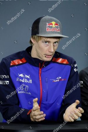 New Zealand's Formula One driver Brendon Hartley of Toro Rosso attends a press conference at the Interlagos racetrack in Sao Paulo, Brazil, 08 November 2018. The 2018 Brazil Formula One Gran Prix takes place on 11 November 2018.