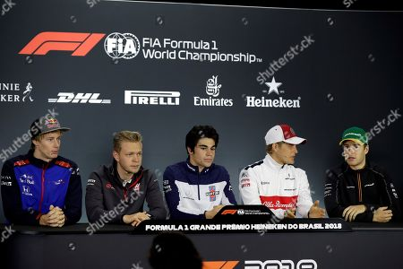 (L-R) Formula One's drivers New Zealand's Brendon Hartley of Toro Rosso, Danish Kevin Magnussen of Haas; Canadian Lance Stroll of Williams, Swedish Marcus Ericsson of Sauber and Belgian Stoffel Vandoorne of McLaren attend a press conference at the Interlagos racetrack in Sao Paulo, Brazil, 08 November 2018. The 2018 Brazil Formula One Gran Prix takes place on 11 November 2018.