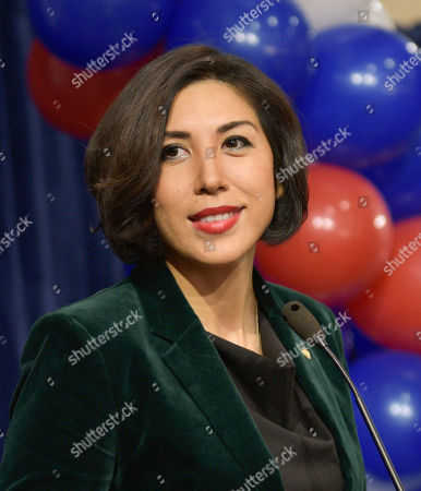 Democratic gubernatorial candidate Paulette Jordan addresses supporters at an election night party, in Boise, Idaho