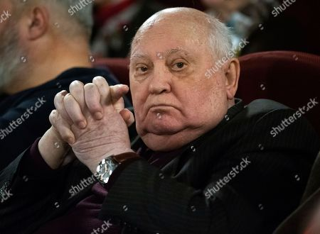 Former Soviet leader Mikhail Gorbachev attends the Moscow premier of a film made by Werner Herzog and British filmmaker Andre Singer based on their conversations, in Moscow, Russia, . Gorbachev told reporters that urgent efforts must be taken to prevent a new arms race