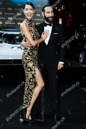 German model Rebecca Mir (L) and her partner German dancer Massimo Sinato arrive for the GQ Men of the Year 2018 awards show in Berlin, Germany, 08 November 2018. The international monthly men's magazine GQ presents the award to personalities from the show and music businesses as well as society, sport, politics, culture and fashion.