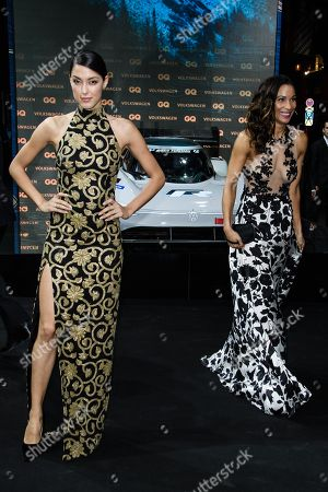 German model Rebecca Mir (L) poses next to German TV presenter Annabelle Mandeng during the GQ Men of the Year 2018 awards show in Berlin, Germany, 08 November 2018. The international monthly men's magazine GQ presents the award to personalities from the show and music businesses as well as society, sport, politics, culture and fashion.