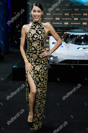 German model Rebecca Mir arrives for the GQ Men of the Year 2018 awards show in Berlin, Germany, 08 November 2018. The international monthly men's magazine GQ presents the award to personalities from the show and music businesses as well as society, sport, politics, culture and fashion.