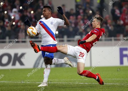 Alfredo Morelos (L) of the Rangers in action against Ilya Kutepov (R) of Spartak Moscow during the UEFA Europa League group G soccer match between Spartak Moscow and Glasgow Rangers in Moscow, Russia, 08 November 2018.
