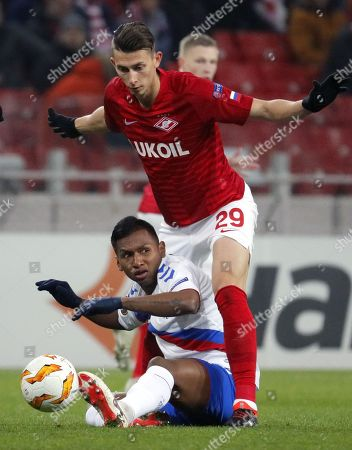 Alfredo Morelos (bottom) of Rangers in action against Ilya Kutepov (top) of Spartak Moscow during the UEFA Europa League group G soccer match between Spartak Moscow and Glasgow Rangers in Moscow, Russia, 08 November 2018.