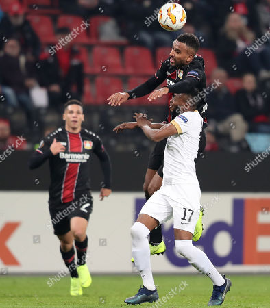 Leverkusen's Isaac Kiese Thelin in action with Zuerich's Umaru Bangura during the UEFA Europa League Group A soccer match between Bayer Leverkusen and FC Zuerich in Leverkusen, Germany, 08 November 2018.