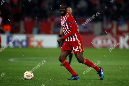 Olympiakos' Yaya Toure controls the ball during a Group F Europa League soccer match between Olympiakos and Dudelange at Georgios Karaiskakis stadium in the port of Piraeus, near Athens