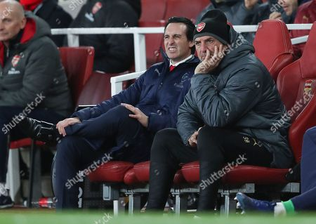 Arsenal manager Unai Emery  and his assistant Steve Bould