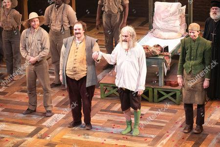 Rufus Hound (Sancho Panza) and David Threlfall (Don Quixote) during the curtain call