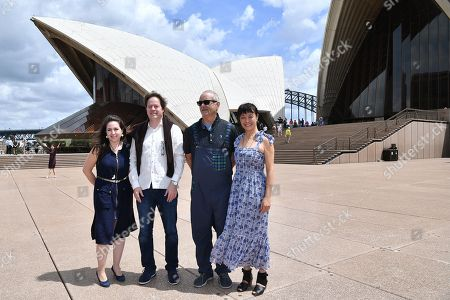 Stock Image of Venezuelan pianist Vanessa Perez, German cellist Jan Vogler, American actor Bill Murray and Chinese violinist Mira Wang pose for a photo on the steps of the Sydney Opera House
