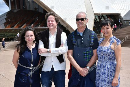 Stock Picture of Venezuelan pianist Vanessa Perez, German cellist Jan Vogler, American actor Bill Murray and Chinese violinist Mira Wang pose for a photo on the steps of the Sydney Opera House