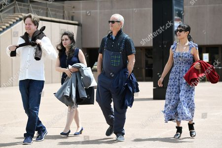 Venezuelan pianist Vanessa Perez, German cellist Jan Vogler, American actor Bill Murray and Chinese violinist Mira Wang pose for a photo on the steps of the Sydney Opera House