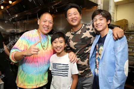 "Eddie Huang, Ian Chen, Hudson Yang, Forest Wheeler. Chef Eddie Huang, Ian Chen, Hudson Yang and Forest Wheeler seen at Crazy Rich Eating: A Pop-Up Restaurant Inspired by ""Crazy Rich Asians"", in West Hollywood, Calif"