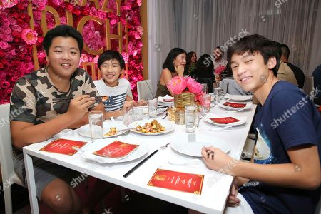 "Ian Chen, Hudson Yang, Forest Wheeler. Hudson Yang, Ian Chen and Forest Wheeler seen at Crazy Rich Eating: A Pop-Up Restaurant Inspired by ""Crazy Rich Asians"", in West Hollywood, Calif"