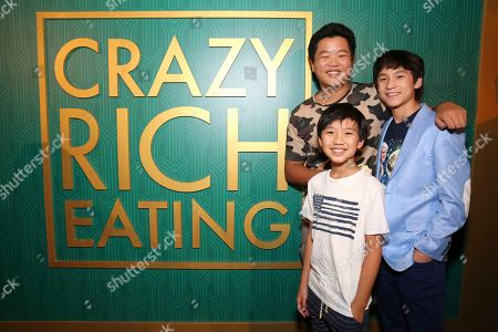 "Hudson Yang, Ian Chen, Forrest Wheeler. Hudson Yang, Ian Chen and Forrest Wheeler seen at Crazy Rich Eating: A Pop-Up Restaurant Inspired by ""Crazy Rich Asians"", in West Hollywood, Calif"