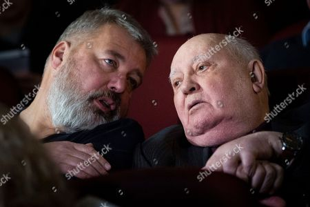 Dmitry Muratov, Mikhail Gorbachev. Former Soviet leader Mikhail Gorbachev, and Dmitry Muratov, former editor of Novaya Gazeta attend the Moscow premier of a film made by Werner Herzog and British filmmaker Andre Singer based on their conversations, in Moscow, Russia, . Gorbachev told reporters that urgent efforts must be taken to prevent a new arms race