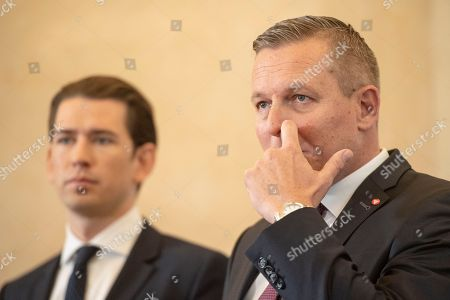 Austrian Chancellor Sebastian Kurz (L) and Austrian Defense Minister Mario Kunasek (R) deliver a press statement at the Austrian Chancellory in Vienna, Austria, 09 November 2018. Kurz and Kunasek disclose a spying case at the Oesterreichisches Bundesheer (Austrian Armed Forces) by Russian military intelligence service. A 70 years old retired colonel is accused to deliver informations about Austrian Air Force, artillery and migration situation to Russia since the nineties.