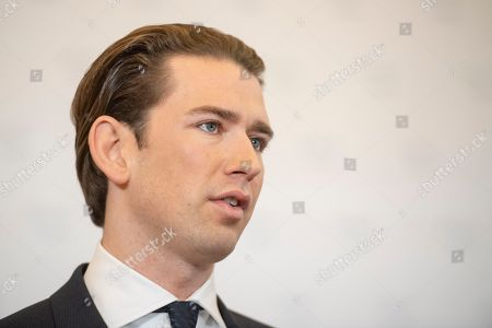 Austrian Chancellor Sebastian Kurz delivers a press statement at the Austrian Chancellory in Vienna, Austria, 09 November 2018. Kurz and Austrian Defense Minister Mario Kunasek disclose a spying case at the Oesterreichisches Bundesheer (Austrian Armed Forces) by Russian military intelligence service. A 70 years old retired colonel is accused to deliver informations about Austrian Air Force, artillery and migration situation to Russia since the nineties.