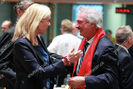 Dutch Minister for Foreign Trade and Development Cooperation Sigrid Kaag (L) and Luxenbourg Minister of Foreign Affairs Jean Asselborn at the start of a EU foreign affairs Council (FAC) at the European Council in Brussels, Belgium, 09 November 2018.