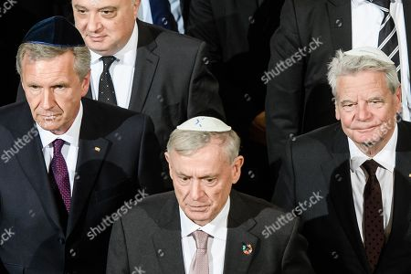 Former German presidents Christian Wulff (L), Horst Koehler (C) and Joachim Gauck (R) leaves after a commemoration event at the synagogue Rykestrasse in Berlin, Germany, 09 November 2018. The year 2018 marks the 80 anniversary of the Kristallnacht, also known as Night of Broken Glass, a pogrom against the Jewish community that took place on the night from the 09 to the 10 of November 1938. SA paramilitary forces attacked, ransacked and burnt Jewish-owned stores, buildings, and synagogues throughout Germany.