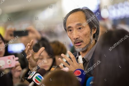 Chinese dissident author Ma Jian speaks to reporters after landing at Hong Kong International Airport in Hong Kong, China, 09 November 2018. Ma's talks at Hong Kong's Tai Kwun arts centre was cancelled days after he revealed several Hong Kong publishers refused to print the Chinese version of his latest novel, which is critical of the Beijing government. Shortly before Ma landed in Hong Kong, a second venue said it would not be hosting his two events of the Hong Kong Literary Festival  events as reported.