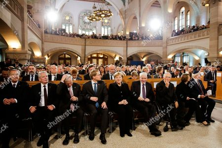 From right: German President Frank-Walter Steinmeier and his wife Elke Buedenbinder, the President of the Federal Parliament, Wolfgang Schaeuble, the President of the Central Council of Jews in Germany Josef Schuster, German Chancellor Angela Merkel, the President of Germany's upper house Bundesrat Daniel Guenther and the former German Presidents Horst Koehler, Joachim Gauck and Christian Wulff arrive at the synagogue Rykestrasse in the district Prenzlauer Berg in Berlin, Germany, to attend an event commemorating the Night of Broken Glass 1938, in which Nazis burned and vandalized synagogues and Jewish businesses across the country and killing over 400 people