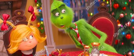 Cindy-Lou Who (Cameron Seely) and The Grinch (Benedict Cumberbatch)