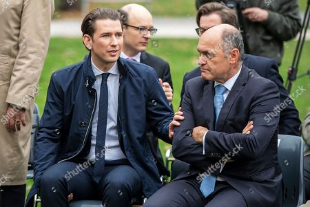 Austrian Chancellor Sebastian Kurz (L) and President of the Austrian National Council, the first chamber of the country's Parliament Wolfgang Sobotka (R) attend a visualization event for a planned Shoa commemorative wall memorial at the Ostarrichipark in Vienna, Austria, 09 November 2018. The commemorative wall will display all names of the the Jewish WII victims.