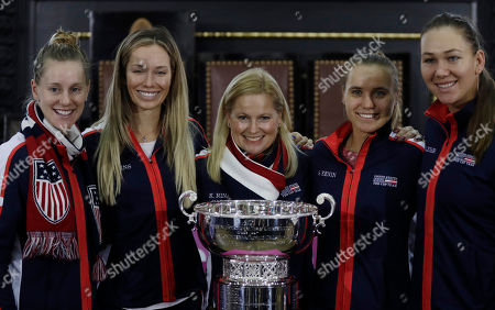 Stock Picture of The team of the United States, left to right, Alison Riske, Danielle Rose Collins, captain Kathy Rinaldi, Sofia Kenin and Nicole Melichar pose for a photo in Prague, Czech Republic, after a draw for the tennis Fed Cup Final between Czech Republic and the United States. The final takes place on Saturday, Nov. 10 and Sunday, Nov. 11, 2018