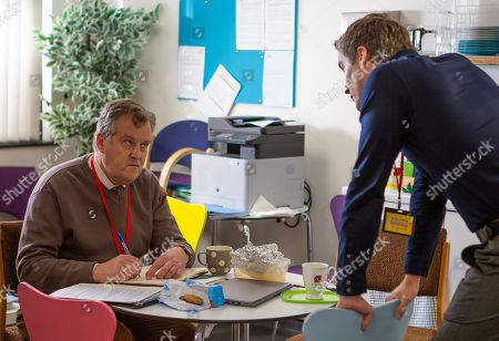 Ep 9622 Monday 26th November 2018 - 1st Ep Cathy is concerned as Phil, as played by Tom Turner, continues to pile the pressure on Brian Packham, as played by Peter Gunn, who has stayed up all night working on the play and causing him to miss a staff meeting. Phil orders him to work late to make up for it and questions whether he has what it takes to be a teacher after all