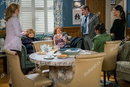 Ep 9622 Monday 26th November 2018 - 1st Ep Rita Sullivan, as played by Barbara Knox, slips and twists her ankle outside the Rovers where Jenny Connor, as played by Sally Ann Matthews, was mopping the flags? Johnny Connor, as played by Richard Hawley, is not pleased when he finds out she's staying with them.