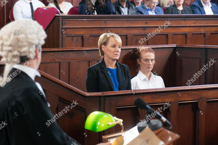 Stock Picture of Ep 9618 Wednesday 21st November 2018 - 1st Ep It is the first day of Sally Metcalfe's, as played by Sally Dynevor, trial and she is upset when there is no sign of Gina and Tim. They eventually arrive just as proceedings are about to start. As Duncan, as played by Nicholas Gleaves, takes the stand and paints himself as an innocent victim who fell in love with Sally and was coerced into defrauding the council, how will Sally cope?
