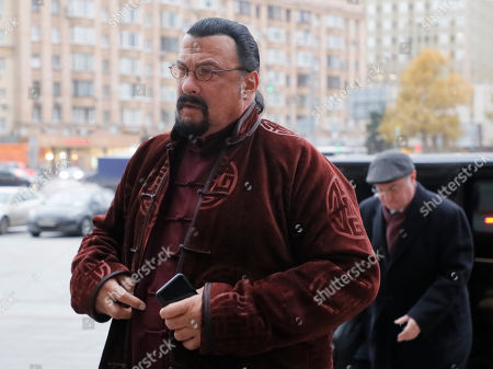 Steven Seagal, US actor, producer and martial artist walks to the Russian Foreign Ministry office in Moscow, Russia, 09 November 2018. Stven Seagal was appointed by Russian president in 2018 as a Special Representative for Russia - US Cultural Links, Cultural and Historical Heritage. Two years ago he was granted Russian citizenship.